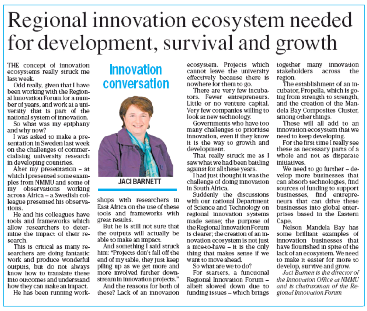 Innovation Conversation: The need for a regional innovation ecosystem